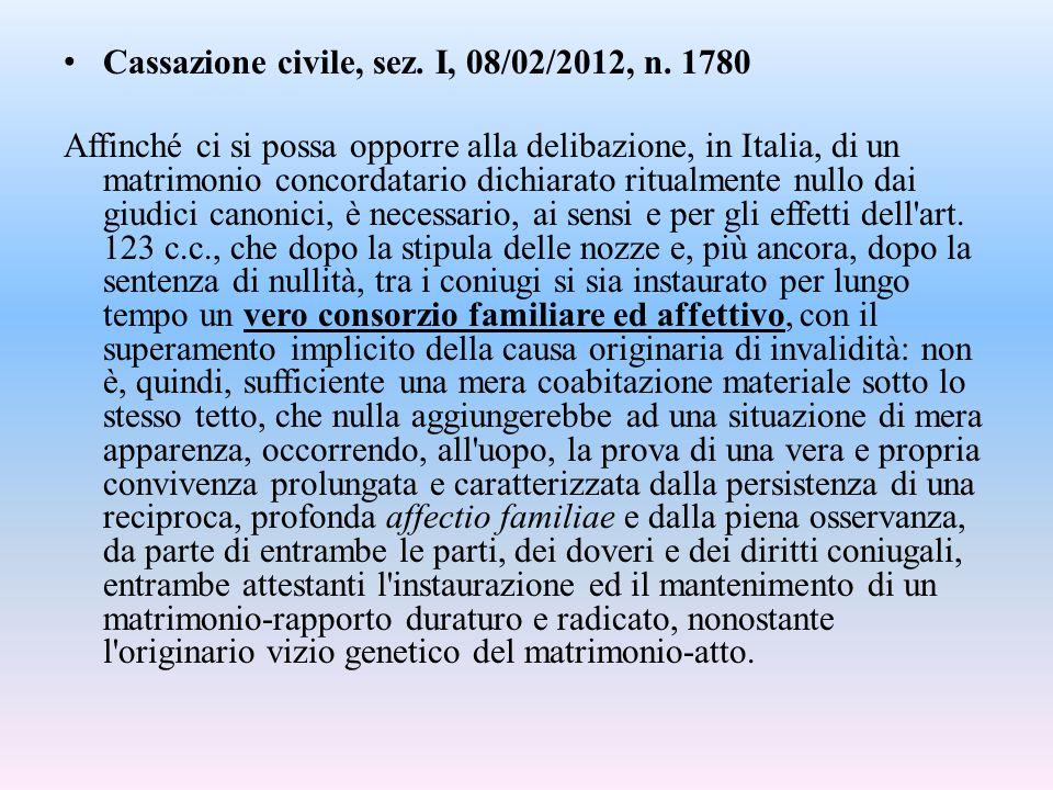 Cassazione civile, sez. I, 08/02/2012, n. 1780 Affinché ci si possa opporre alla delibazione, in Italia, di un matrimonio concordatario dichiarato rit