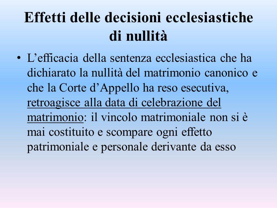 Effetti delle decisioni ecclesiastiche di nullità L'efficacia della sentenza ecclesiastica che ha dichiarato la nullità del matrimonio canonico e che