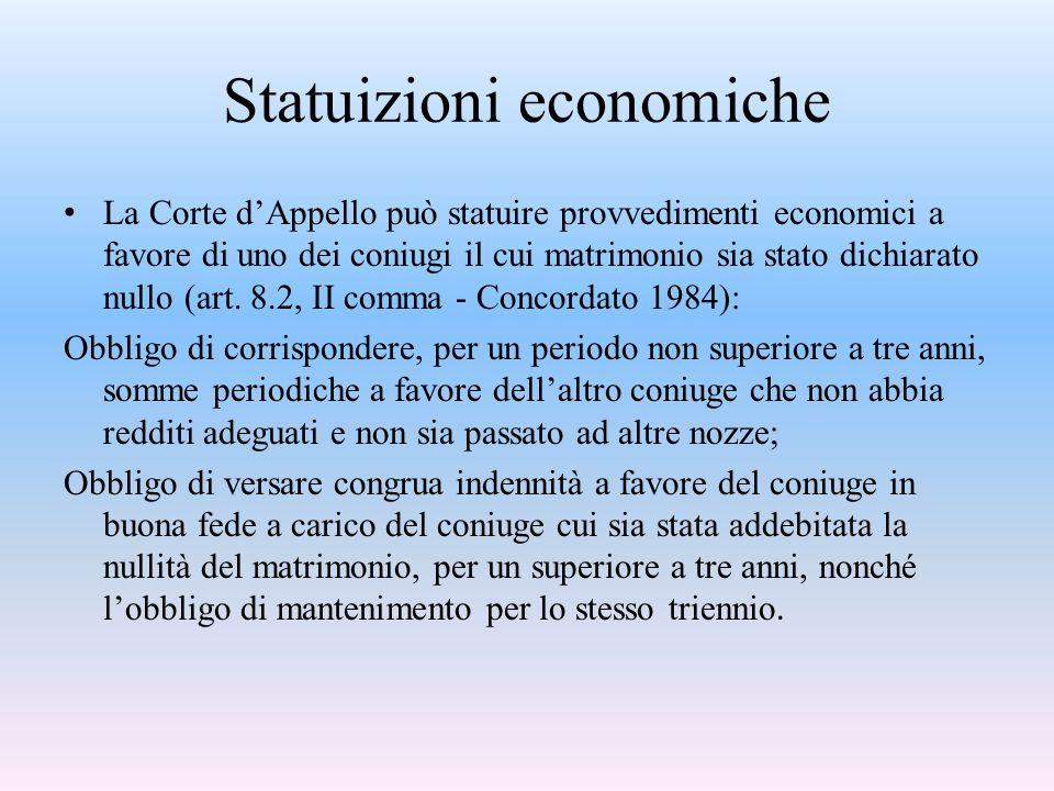 Statuizioni economiche La Corte d'Appello può statuire provvedimenti economici a favore di uno dei coniugi il cui matrimonio sia stato dichiarato null