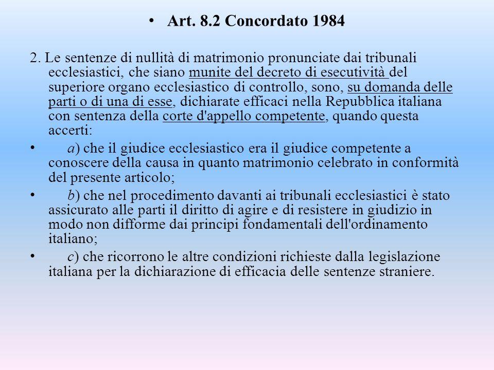 Art. 8.2 Concordato 1984 2. Le sentenze di nullità di matrimonio pronunciate dai tribunali ecclesiastici, che siano munite del decreto di esecutività