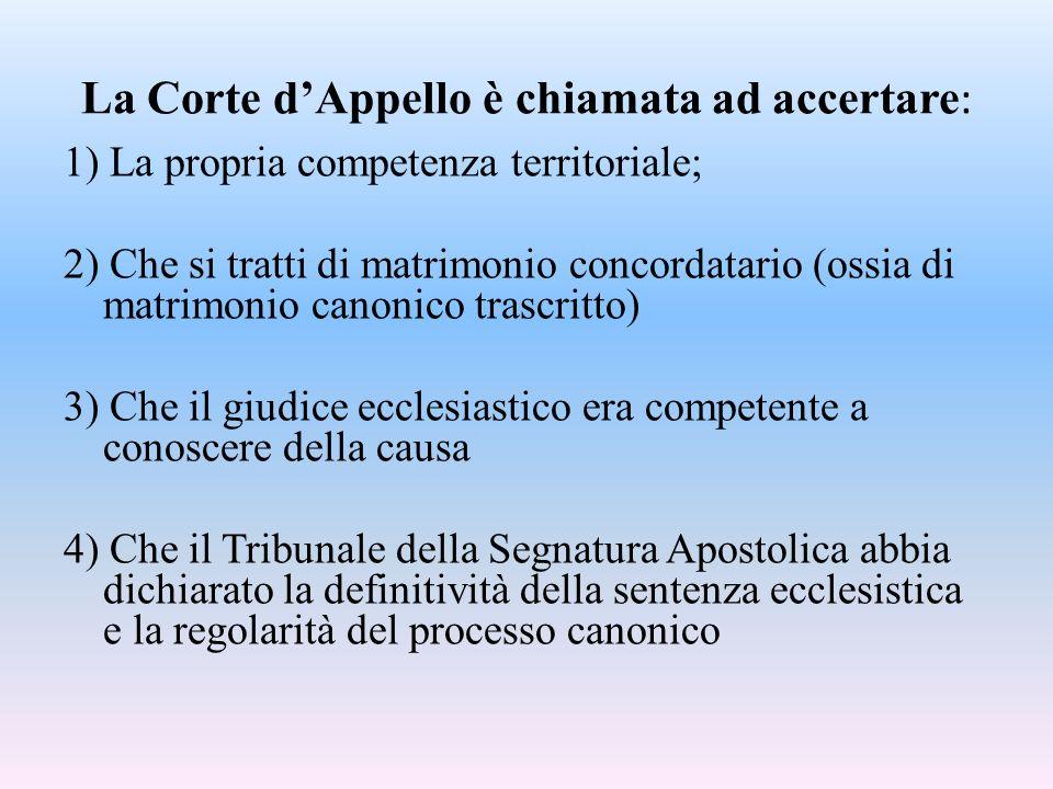 La Corte d'Appello è chiamata ad accertare : 1) La propria competenza territoriale; 2) Che si tratti di matrimonio concordatario (ossia di matrimonio