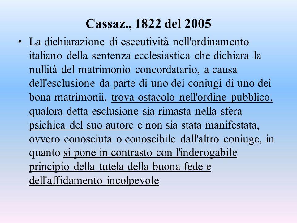 Cassaz., 1822 del 2005 La dichiarazione di esecutività nell ordinamento italiano della sentenza ecclesiastica che dichiara la nullità del matrimonio concordatario, a causa dell esclusione da parte di uno dei coniugi di uno dei bona matrimonii, trova ostacolo nell ordine pubblico, qualora detta esclusione sia rimasta nella sfera psichica del suo autore e non sia stata manifestata, ovvero conosciuta o conoscibile dall altro coniuge, in quanto si pone in contrasto con l inderogabile principio della tutela della buona fede e dell affidamento incolpevole