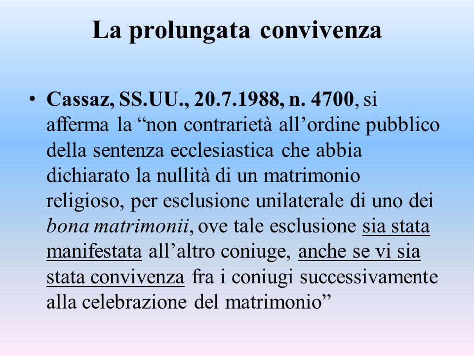Cassazione, 1343 del 20 gennaio 2011 Ostano alla delibazione positiva della sentenza ecclesiastica di nullità del matrimonio, ai fini della sua efficacia nell'ordinamento italiano, l'avvenuta pronuncia a motivo del rifiuto della procreazione sottaciuto da un coniuge all'altro, in caso di convivenza particolarmente prolungata oltre il matrimonio (nella specie, per un ventennio), in quanto espressiva di una volontà di accettazione del rapporto che ne è seguito.