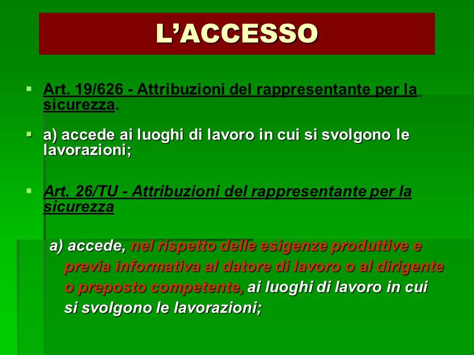 L'ACCESSO   Art. 19/626 - Attribuzioni del rappresentante per la sicurezza.  a) accede ai luoghi di lavoro in cui si svolgono le lavorazioni;   A