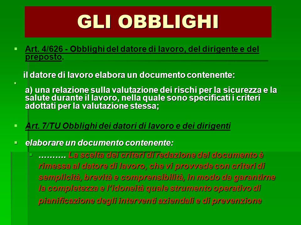 GLI OBBLIGHI   Art. 4/626 - Obblighi del datore di lavoro, del dirigente e del preposto. il datore di lavoro elabora un documento contenente: il dat