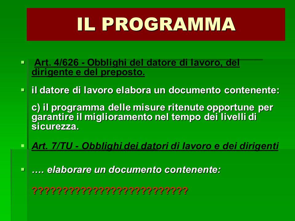 IL PROGRAMMA   Art. 4/626 - Obblighi del datore di lavoro, del dirigente e del preposto.  il datore di lavoro elabora un documento contenente: c) i