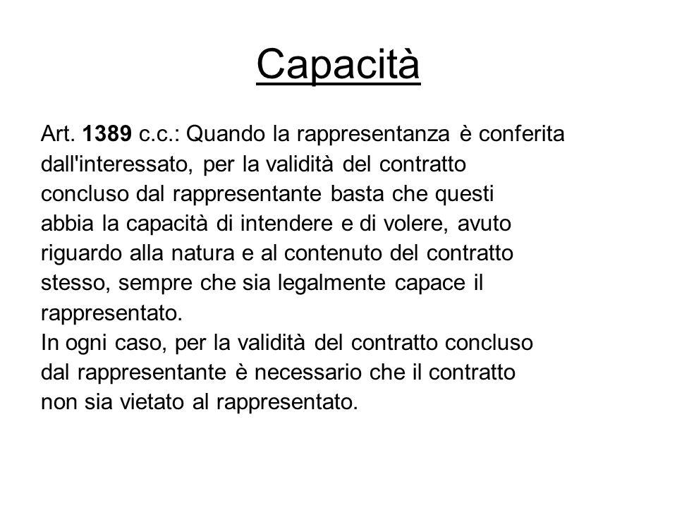 Capacità Art. 1389 c.c.: Quando la rappresentanza è conferita dall'interessato, per la validità del contratto concluso dal rappresentante basta che qu