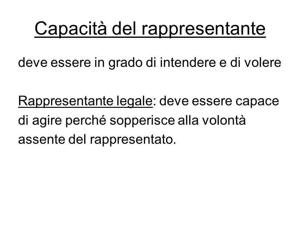 Capacità del rappresentante deve essere in grado di intendere e di volere Rappresentante legale: deve essere capace di agire perché sopperisce alla vo