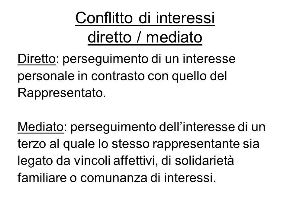 Conflitto di interessi diretto / mediato Diretto: perseguimento di un interesse personale in contrasto con quello del Rappresentato. Mediato: persegui