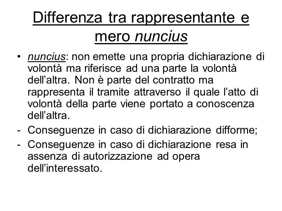 Differenza tra rappresentante e mero nuncius nuncius: non emette una propria dichiarazione di volontà ma riferisce ad una parte la volontà dell'altra.