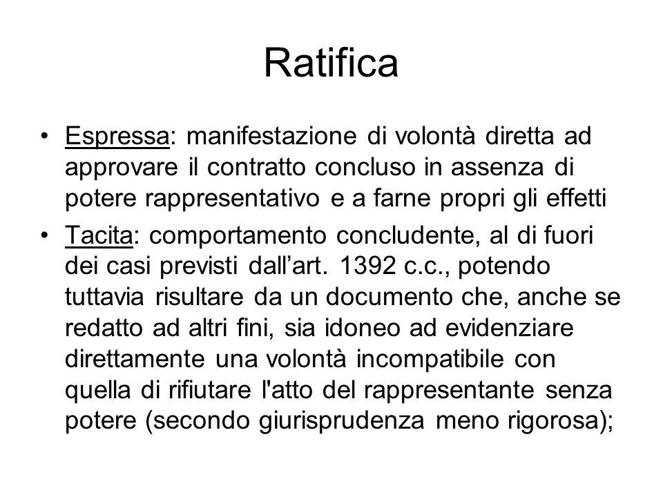 Ratifica Espressa: manifestazione di volontà diretta ad approvare il contratto concluso in assenza di potere rappresentativo e a farne propri gli effe