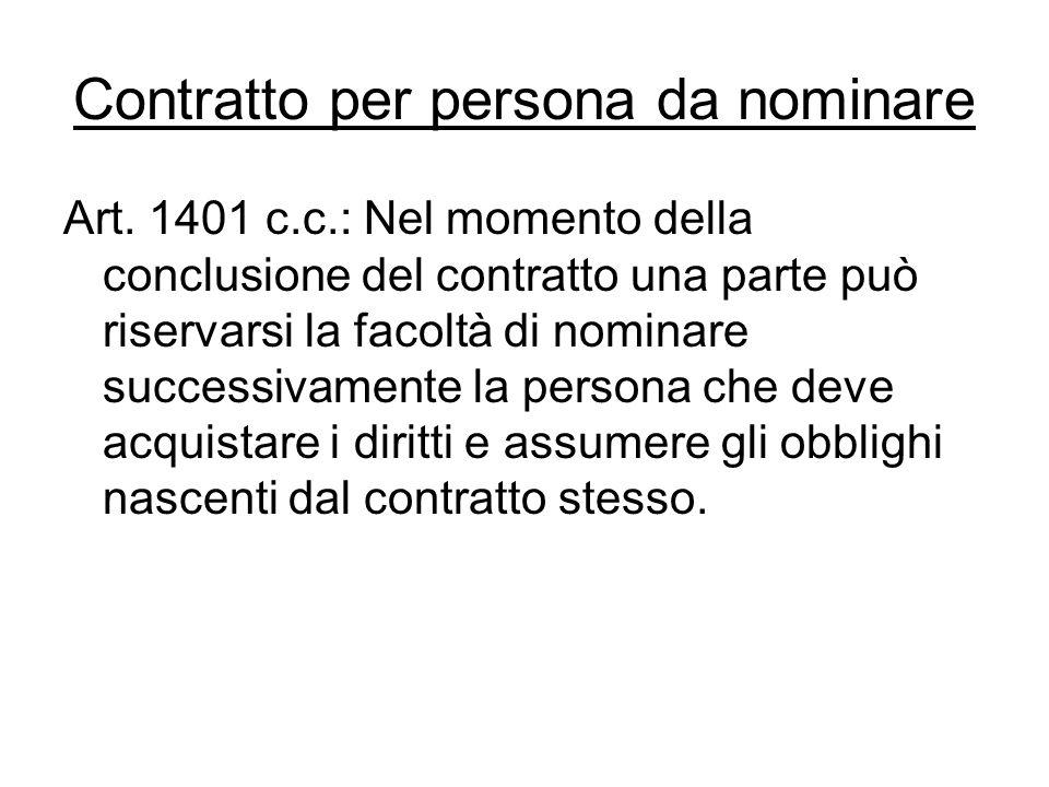 Contratto per persona da nominare Art. 1401 c.c.: Nel momento della conclusione del contratto una parte può riservarsi la facoltà di nominare successi