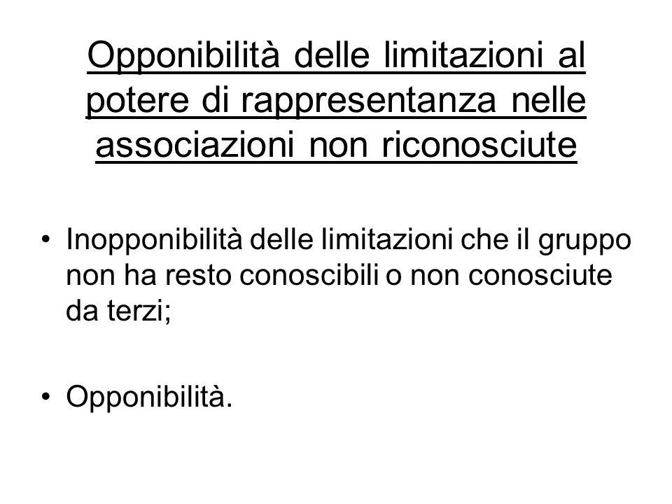 Opponibilità delle limitazioni al potere di rappresentanza nelle associazioni non riconosciute Inopponibilità delle limitazioni che il gruppo non ha r