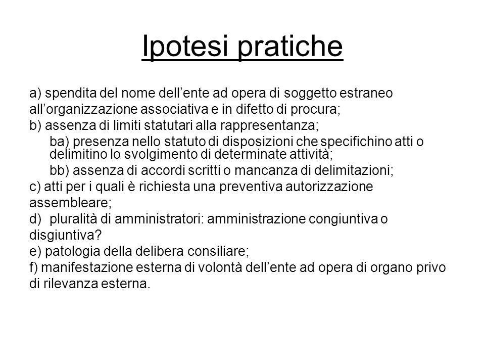 Ipotesi pratiche a) spendita del nome dell'ente ad opera di soggetto estraneo all'organizzazione associativa e in difetto di procura; b) assenza di li