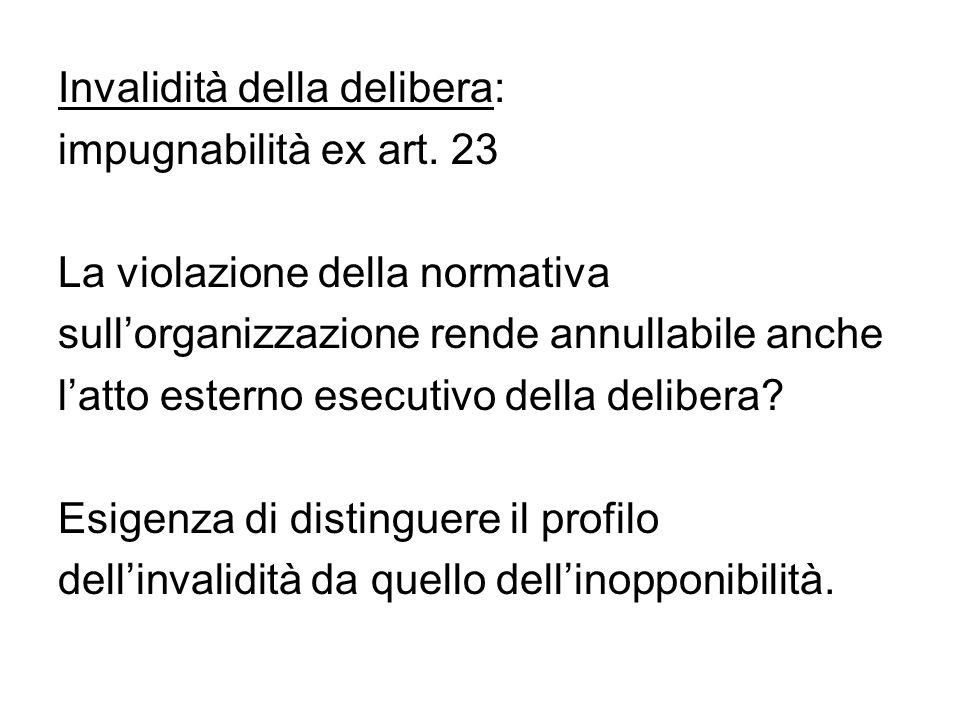Invalidità della delibera: impugnabilità ex art. 23 La violazione della normativa sull'organizzazione rende annullabile anche l'atto esterno esecutivo