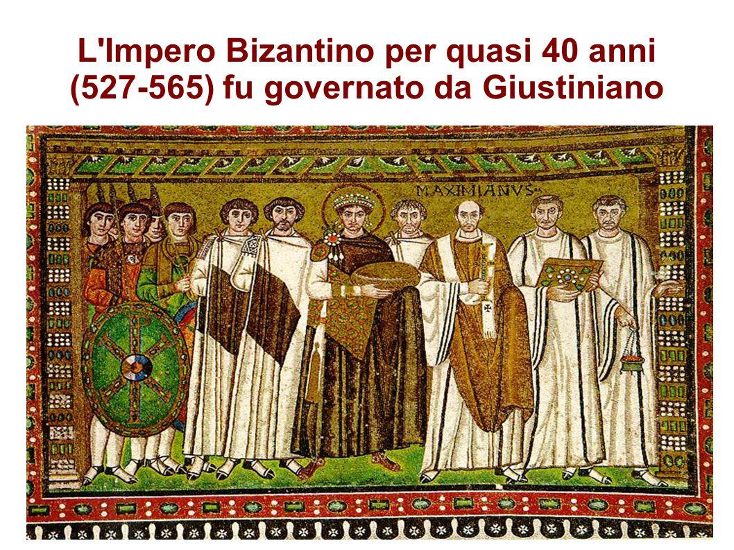 L'Impero Bizantino per quasi 40 anni (527-565) fu governato da Giustiniano