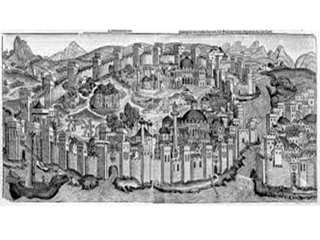 Fu ricostruita la basilica di Santa Sofia, che era stata distrutta Quelle alte torri sono però state costruite dopo, sono i minareti, costruiti quando Costantinopoli fu conquistata dagli Arabi...
