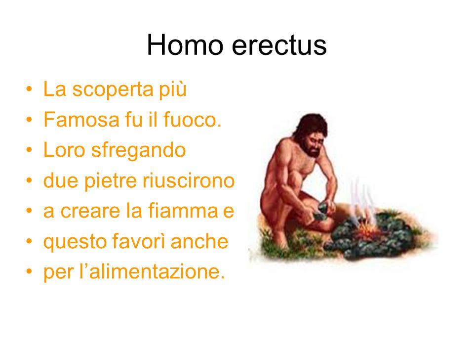 Homo erectus La scoperta più Famosa fu il fuoco. Loro sfregando due pietre riuscirono a creare la fiamma e questo favorì anche per l'alimentazione.