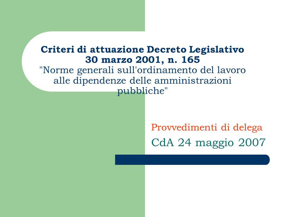 Criteri di attuazione Decreto Legislativo 30 marzo 2001, n.