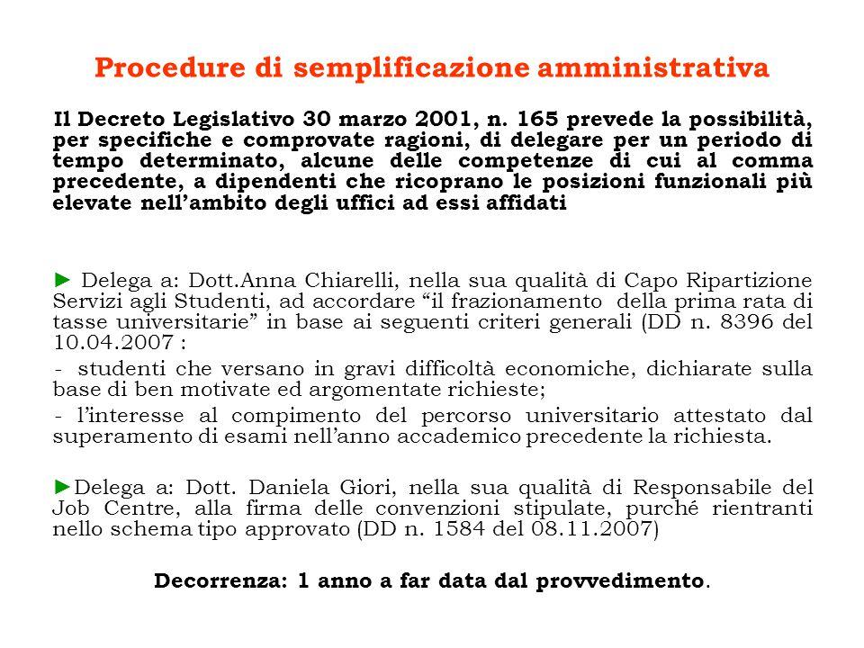 Procedure di semplificazione amministrativa Il Decreto Legislativo 30 marzo 2001, n.