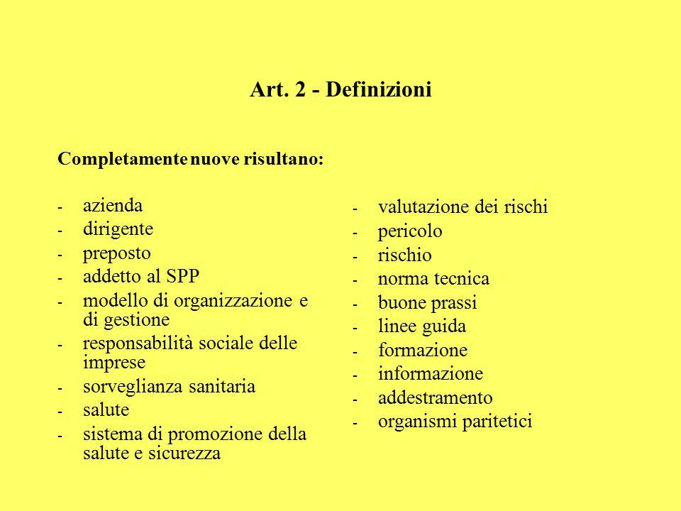 Art. 2 - Definizioni Completamente nuove risultano: - azienda - dirigente - preposto - addetto al SPP - modello di organizzazione e di gestione - resp