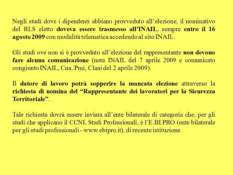 Negli studi dove i dipendenti abbiano provveduto all'elezione, il nominativo del RLS eletto doveva essere trasmesso all'INAIL, sempre entro il 16 agos