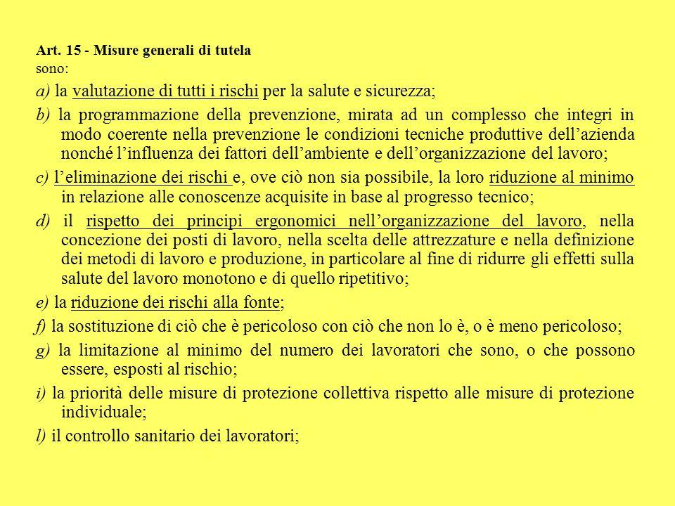 Art. 15 - Misure generali di tutela sono: a) la valutazione di tutti i rischi per la salute e sicurezza; b) la programmazione della prevenzione, mirat
