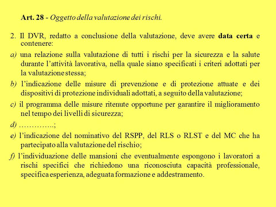 Art. 28 - Oggetto della valutazione dei rischi. 2. Il DVR, redatto a conclusione della valutazione, deve avere data certa e contenere: a) una relazion