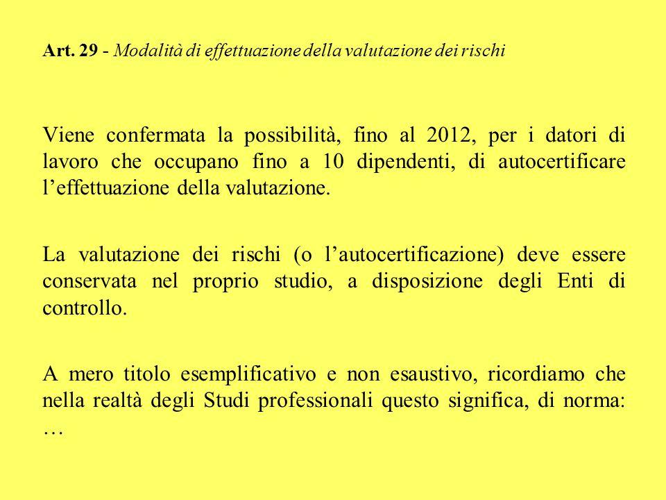 Art. 29 - Modalità di effettuazione della valutazione dei rischi Viene confermata la possibilità, fino al 2012, per i datori di lavoro che occupano fi