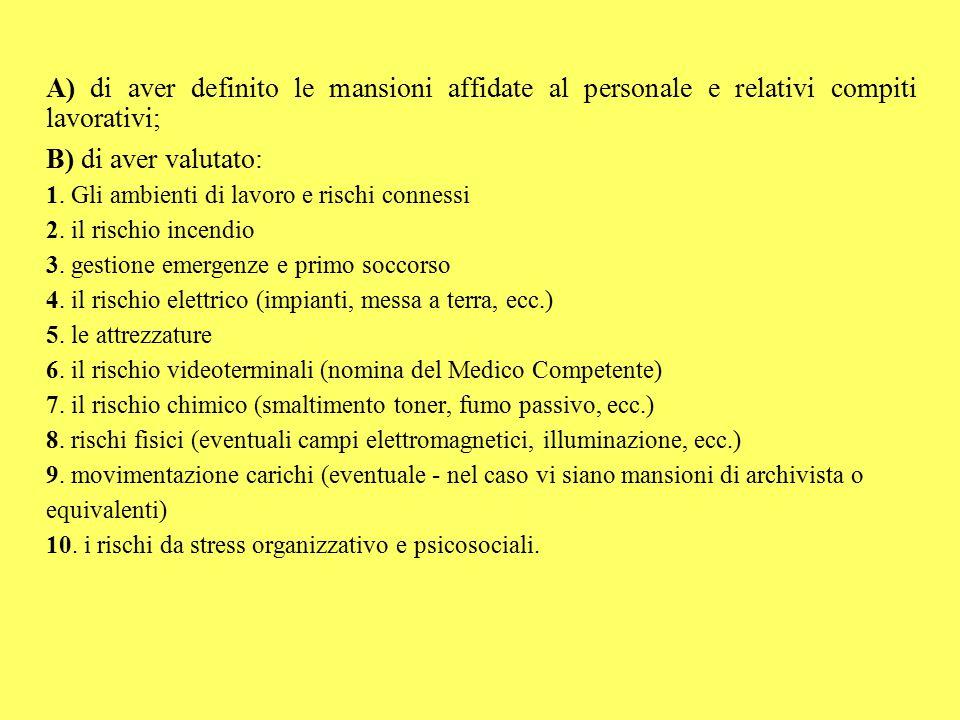 A) di aver definito le mansioni affidate al personale e relativi compiti lavorativi; B) di aver valutato: 1. Gli ambienti di lavoro e rischi connessi
