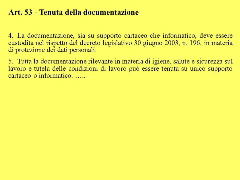 Art. 53 - Tenuta della documentazione 4.La documentazione, sia su supporto cartaceo che informatico, deve essere custodita nel rispetto del decreto le