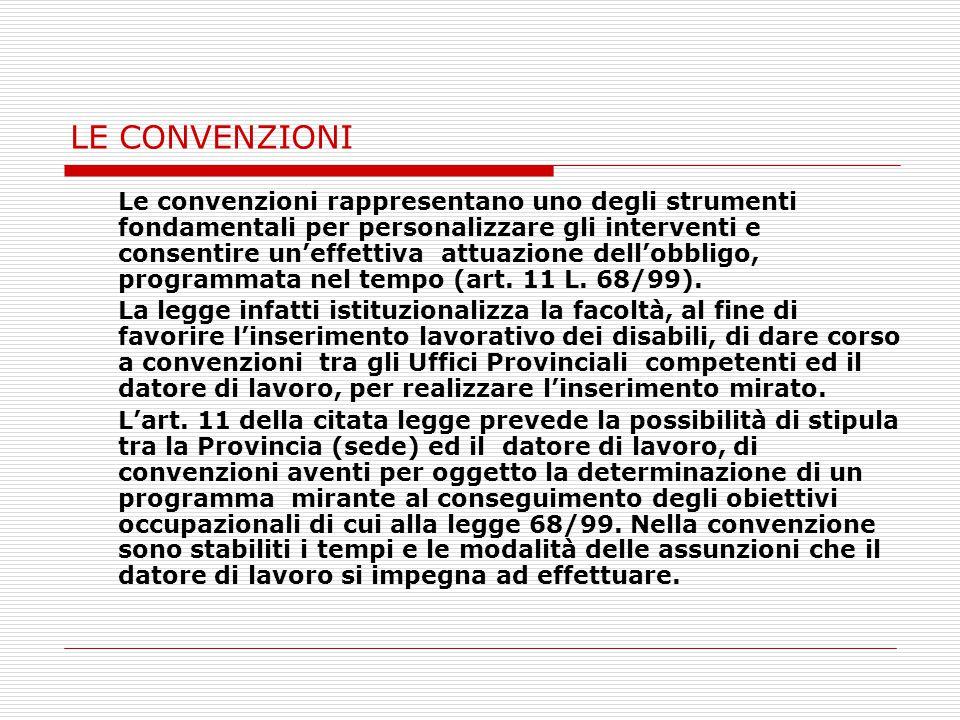 LE CONVENZIONI Le convenzioni rappresentano uno degli strumenti fondamentali per personalizzare gli interventi e consentire un'effettiva attuazione dell'obbligo, programmata nel tempo (art.