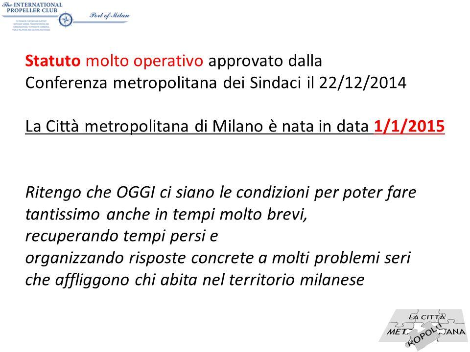 14 Statuto molto operativo approvato dalla Conferenza metropolitana dei Sindaci il 22/12/2014 La Città metropolitana di Milano è nata in data 1/1/2015