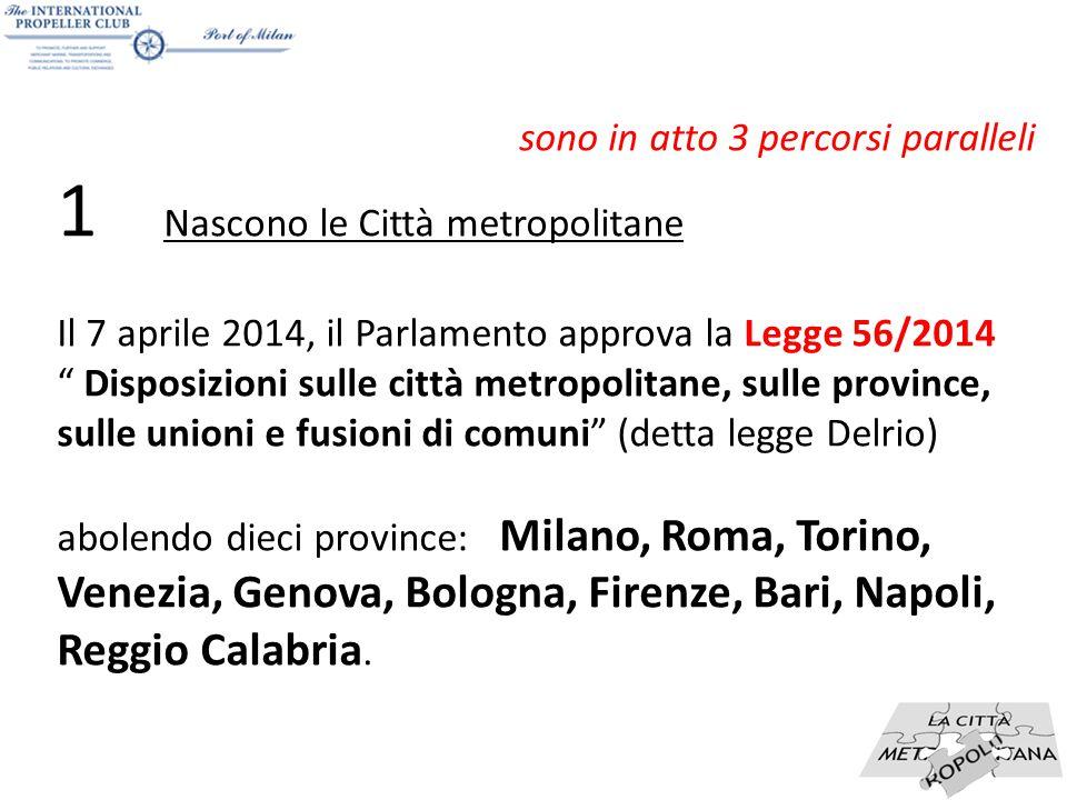 """6 sono in atto 3 percorsi paralleli 1 Nascono le Città metropolitane Il 7 aprile 2014, il Parlamento approva la Legge 56/2014 """" Disposizioni sulle cit"""