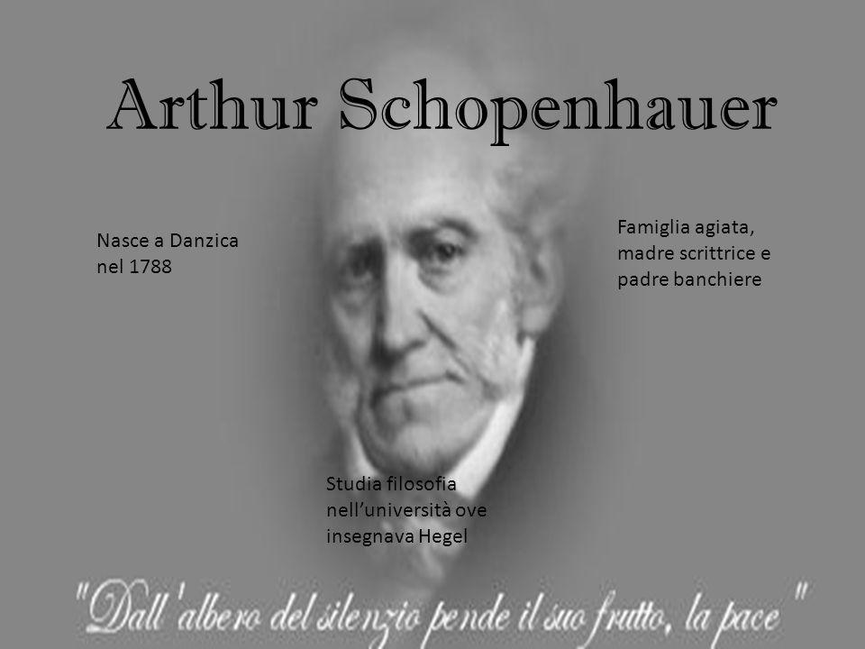 Arthur Schopenhauer Nasce a Danzica nel 1788 Famiglia agiata, madre scrittrice e padre banchiere Studia filosofia nell'università ove insegnava Hegel