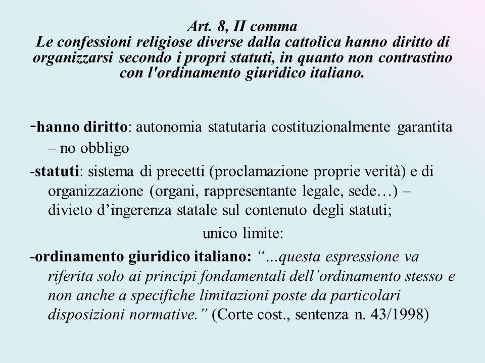 Art. 8, II comma Le confessioni religiose diverse dalla cattolica hanno diritto di organizzarsi secondo i propri statuti, in quanto non contrastino co