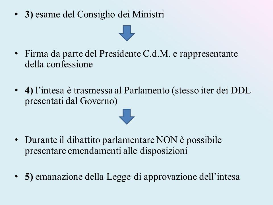 3) esame del Consiglio dei Ministri Firma da parte del Presidente C.d.M. e rappresentante della confessione 4) l'intesa è trasmessa al Parlamento (ste