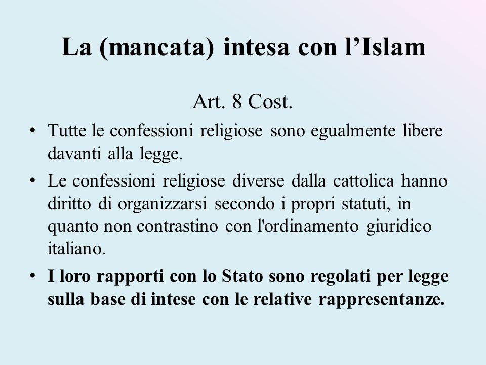 La (mancata) intesa con l'Islam Art. 8 Cost. Tutte le confessioni religiose sono egualmente libere davanti alla legge. Le confessioni religiose divers
