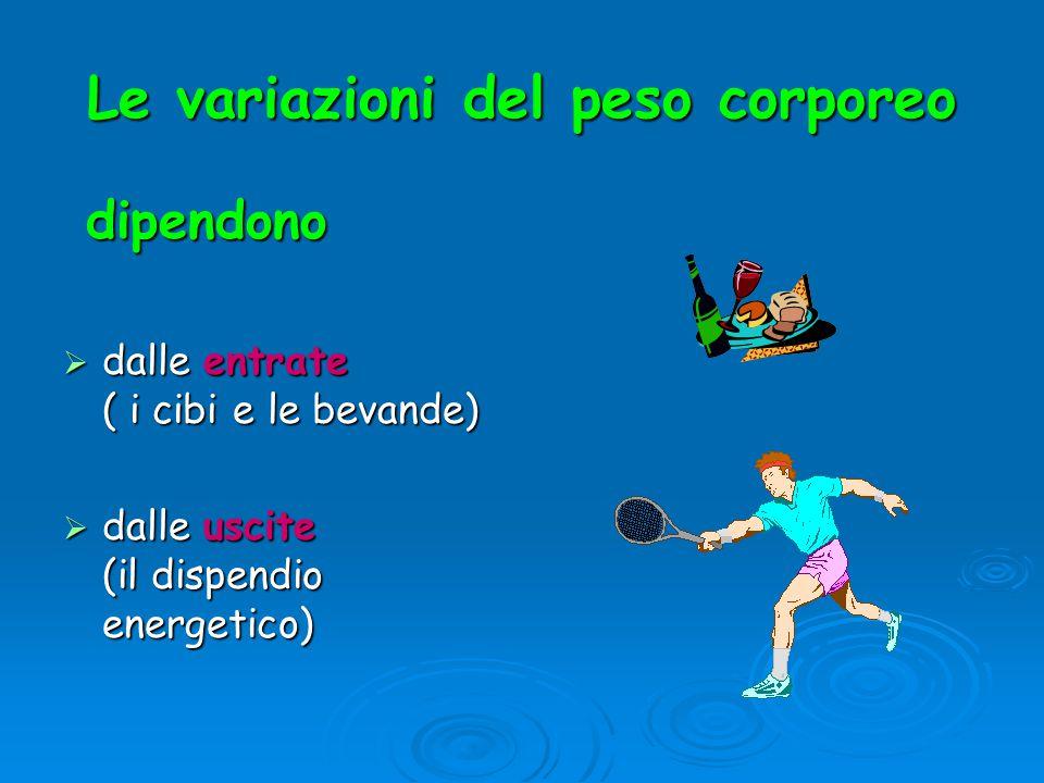 Le variazioni del peso corporeo dipendono dipendono  dalle entrate ( i cibi e le bevande)  dalle uscite (il dispendio energetico)