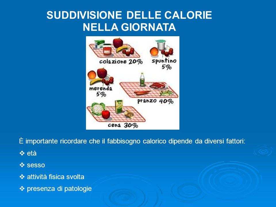SUDDIVISIONE DELLE CALORIE NELLA GIORNATA È importante ricordare che il fabbisogno calorico dipende da diversi fattori:  età  sesso  attività fisic