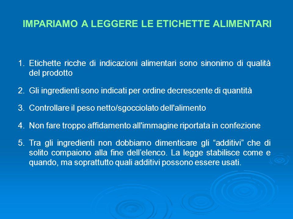 IMPARIAMO A LEGGERE LE ETICHETTE ALIMENTARI 1.Etichette ricche di indicazioni alimentari sono sinonimo di qualità del prodotto 2.Gli ingredienti sono