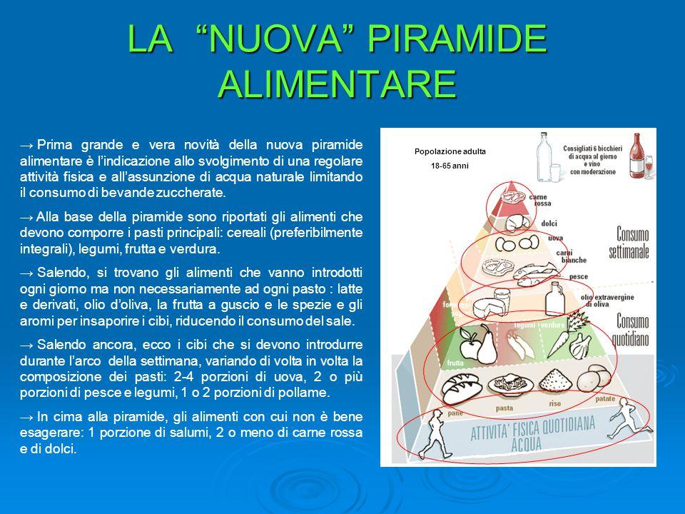 """LA """"NUOVA"""" PIRAMIDE ALIMENTARE → Prima grande e vera novità della nuova piramide alimentare è l'indicazione allo svolgimento di una regolare attività"""