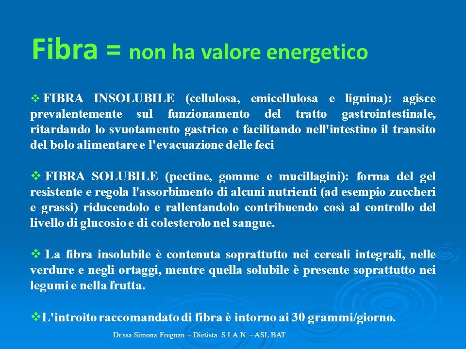 Dr.ssa Simona Fregnan – Dietista S.I.A.N. – ASL BAT  FIBRA INSOLUBILE (cellulosa, emicellulosa e lignina): agisce prevalentemente sul funzionamento d