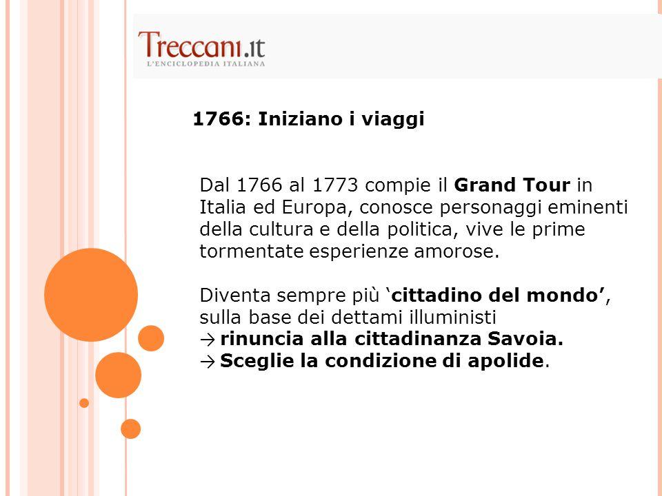 Dal 1766 al 1773 compie il Grand Tour in Italia ed Europa, conosce personaggi eminenti della cultura e della politica, vive le prime tormentate esperienze amorose.
