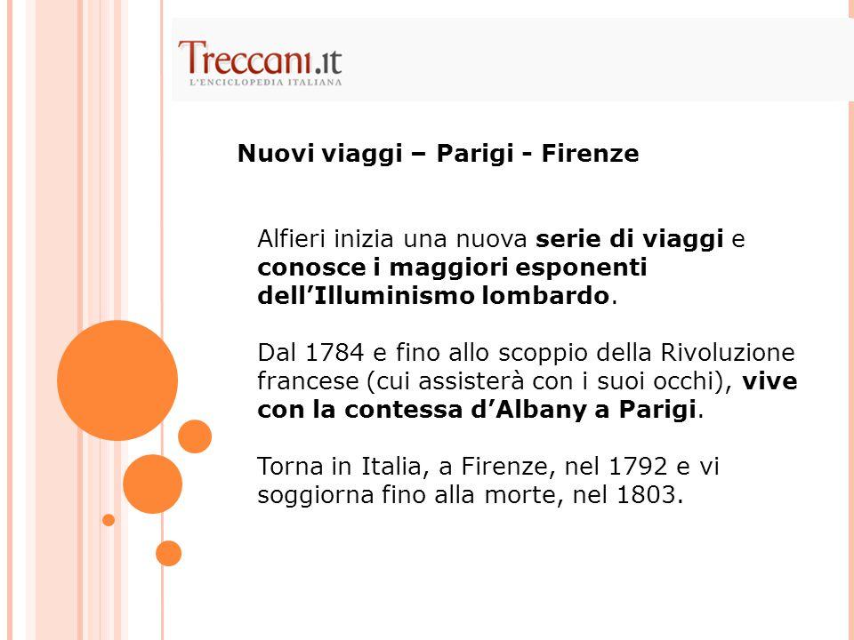 Alfieri inizia una nuova serie di viaggi e conosce i maggiori esponenti dell'Illuminismo lombardo. Dal 1784 e fino allo scoppio della Rivoluzione fran