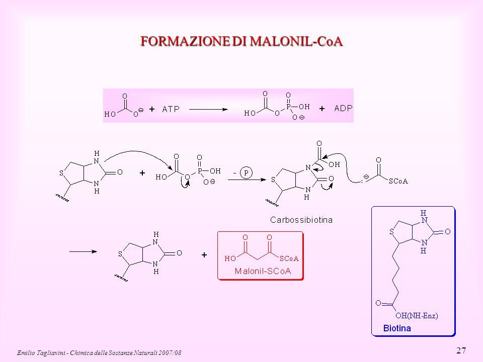 Emilio Tagliavini - Chimica delle Sostanze Naturali 2007/08 38 Fosfoacilgliceroli (Fosfolipidi) Il gruppo OH terminale del glicerolo è esterificato con acido fosforico Costituiscono il 40-50% delle membrane cellulari Configurazione R Acido fosfatidico