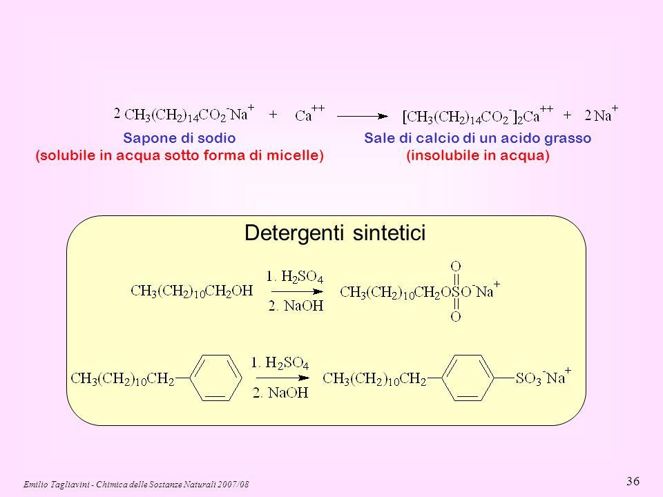 Emilio Tagliavini - Chimica delle Sostanze Naturali 2007/08 36 Sapone di sodio (solubile in acqua sotto forma di micelle) Sale di calcio di un acido g