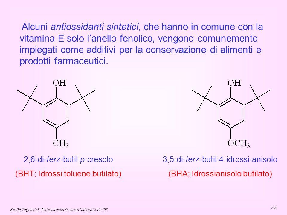 Emilio Tagliavini - Chimica delle Sostanze Naturali 2007/08 44 Alcuni antiossidanti sintetici, che hanno in comune con la vitamina E solo l'anello fen
