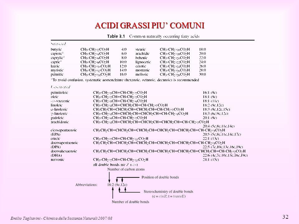 Emilio Tagliavini - Chimica delle Sostanze Naturali 2007/08 32 ACIDI GRASSI PIU' COMUNI