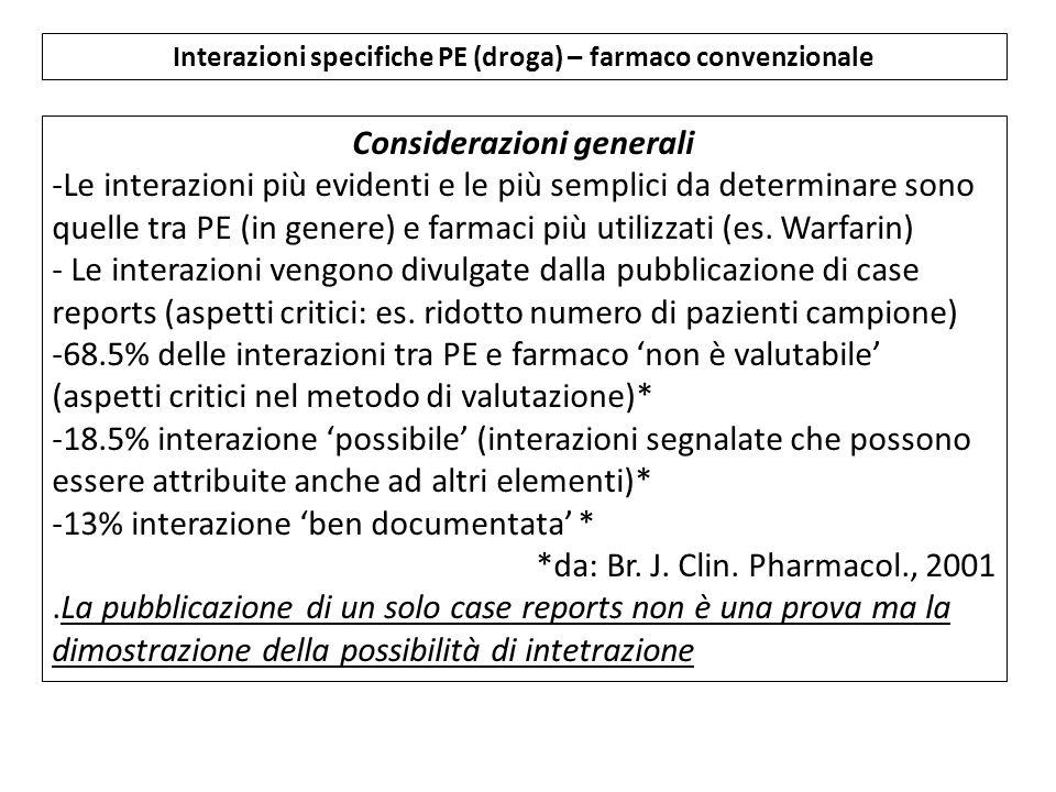 Interazioni specifiche PE (droga) – farmaco convenzionale Considerazioni generali -Le interazioni più evidenti e le più semplici da determinare sono quelle tra PE (in genere) e farmaci più utilizzati (es.